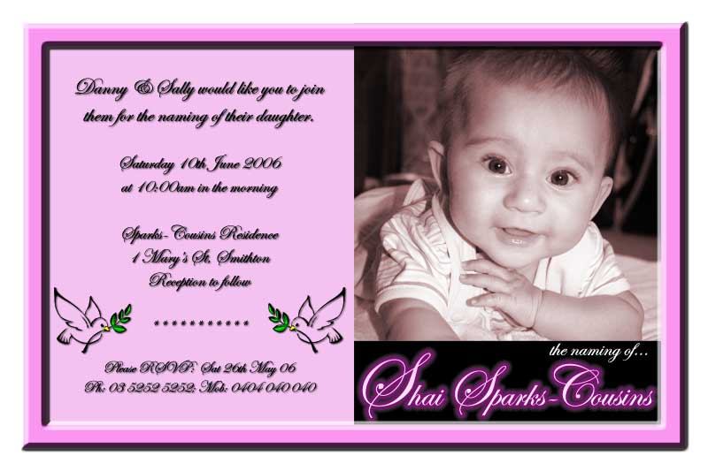 Christening, Baptism, Naming Day Invitations or Thank You Cards